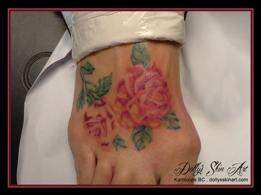 roses foot tattoo