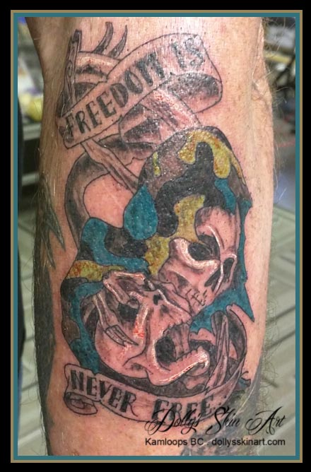 freedom colour skull tribute tattoo