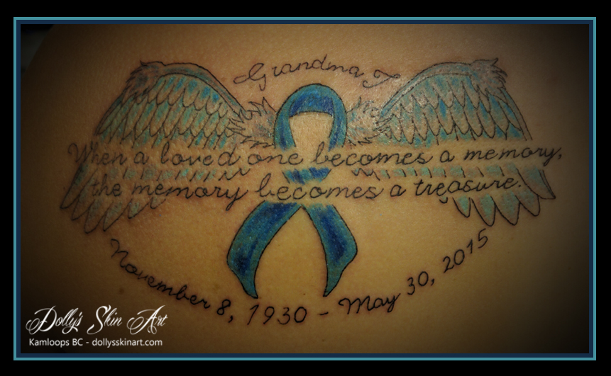 wings ribbon lettering font colour memorial tattoo