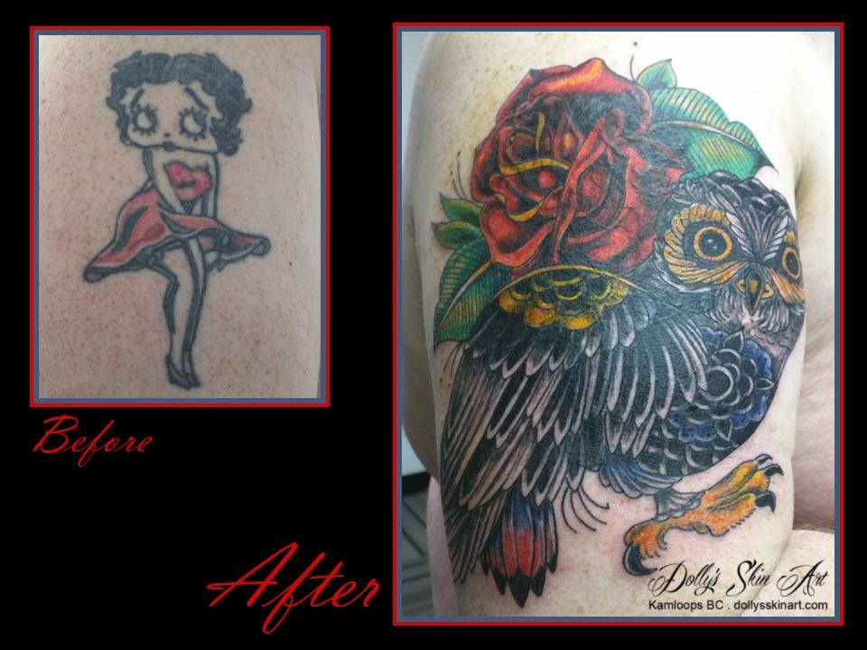 colour owl roses coverup tattoo