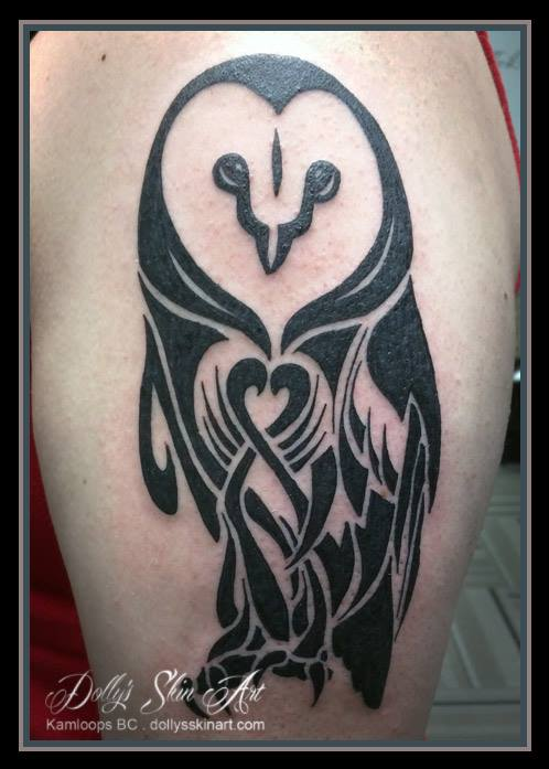 janet black tribal owl memorial tattoo