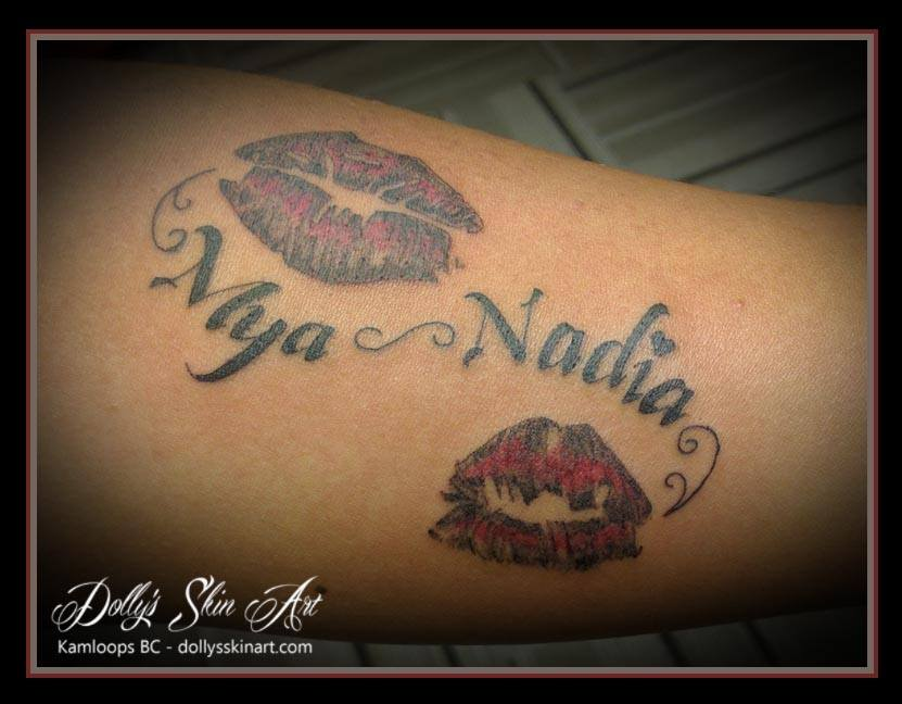 lettering font lips daughters tattoo red black