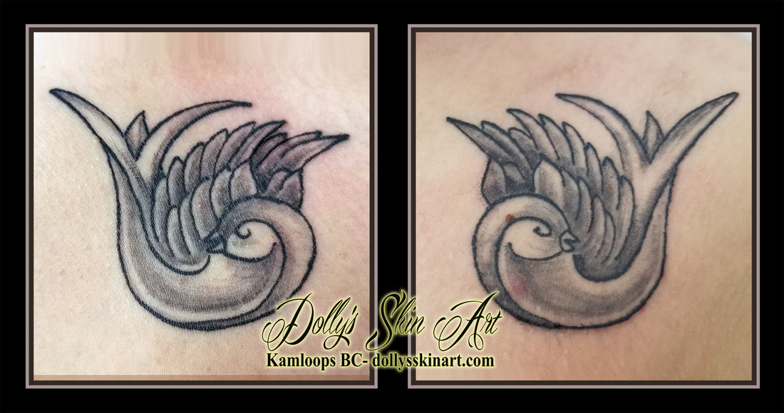 black and grey healed doves shaded matching traditional tattoo kamloops dolly's skin art