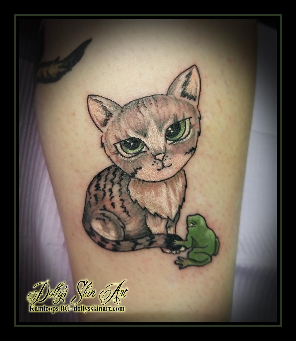 cat tattoo cartoon kitten frog colour green brown grey black tattoo kamloops dolly's skin art
