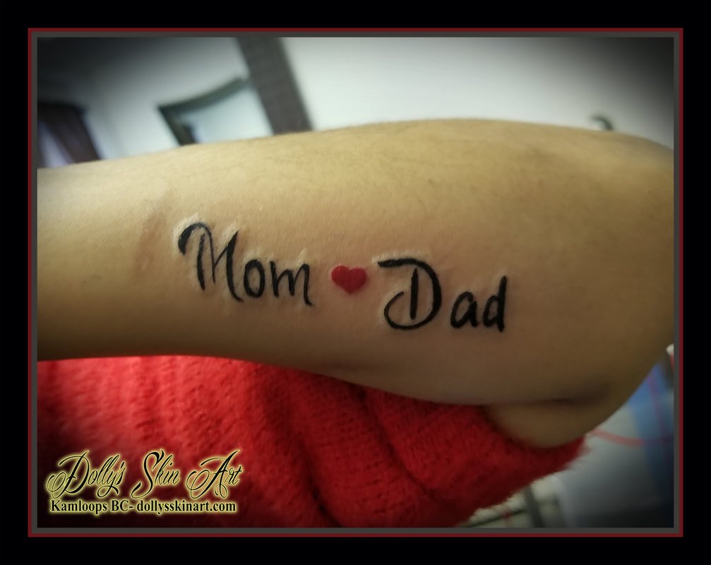 mom dad tattoo heart forearm black red script font lettering tattoo kamloops dolly's skin art
