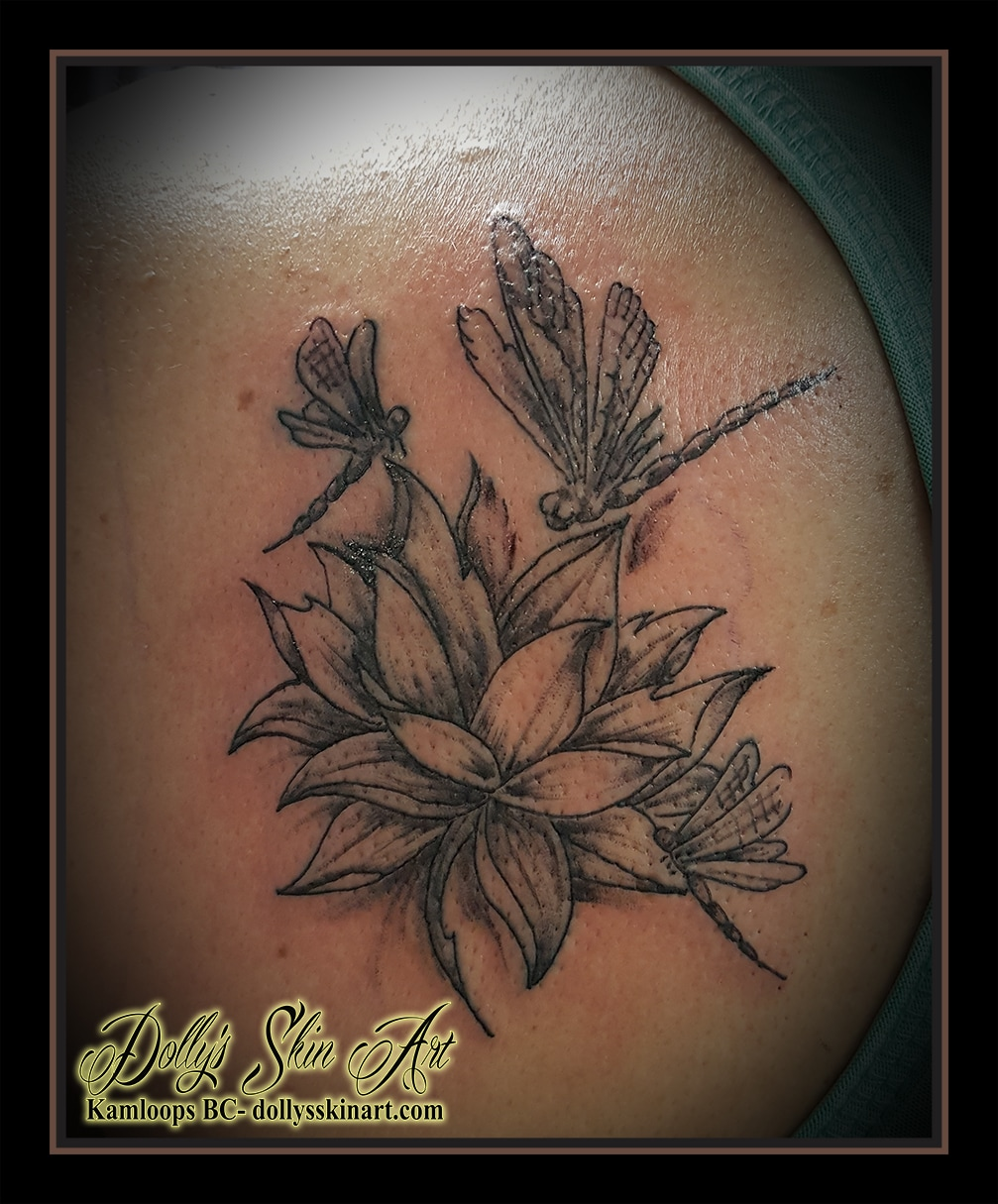 lotus dragonflies black and grey shaded back shoulder tattoo kamloops dolly's skin art