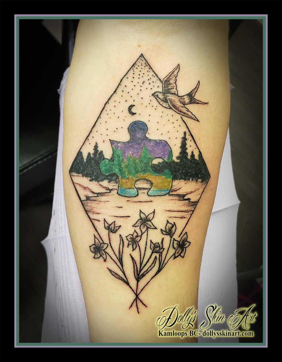 puzzle tattoo family forest trees flowers diamond linework black and grey colour purple green brown blue shading tattoo kamloops dolly's skin art