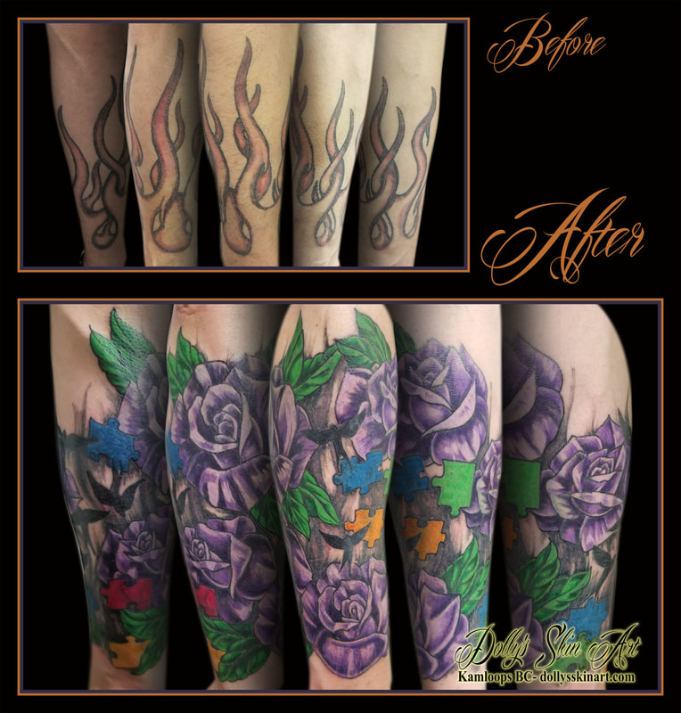 flowers rose leaves colour cover up purple green red yellow blue black birds autism puzzle forearm tattoo kamloops dolly's skin art