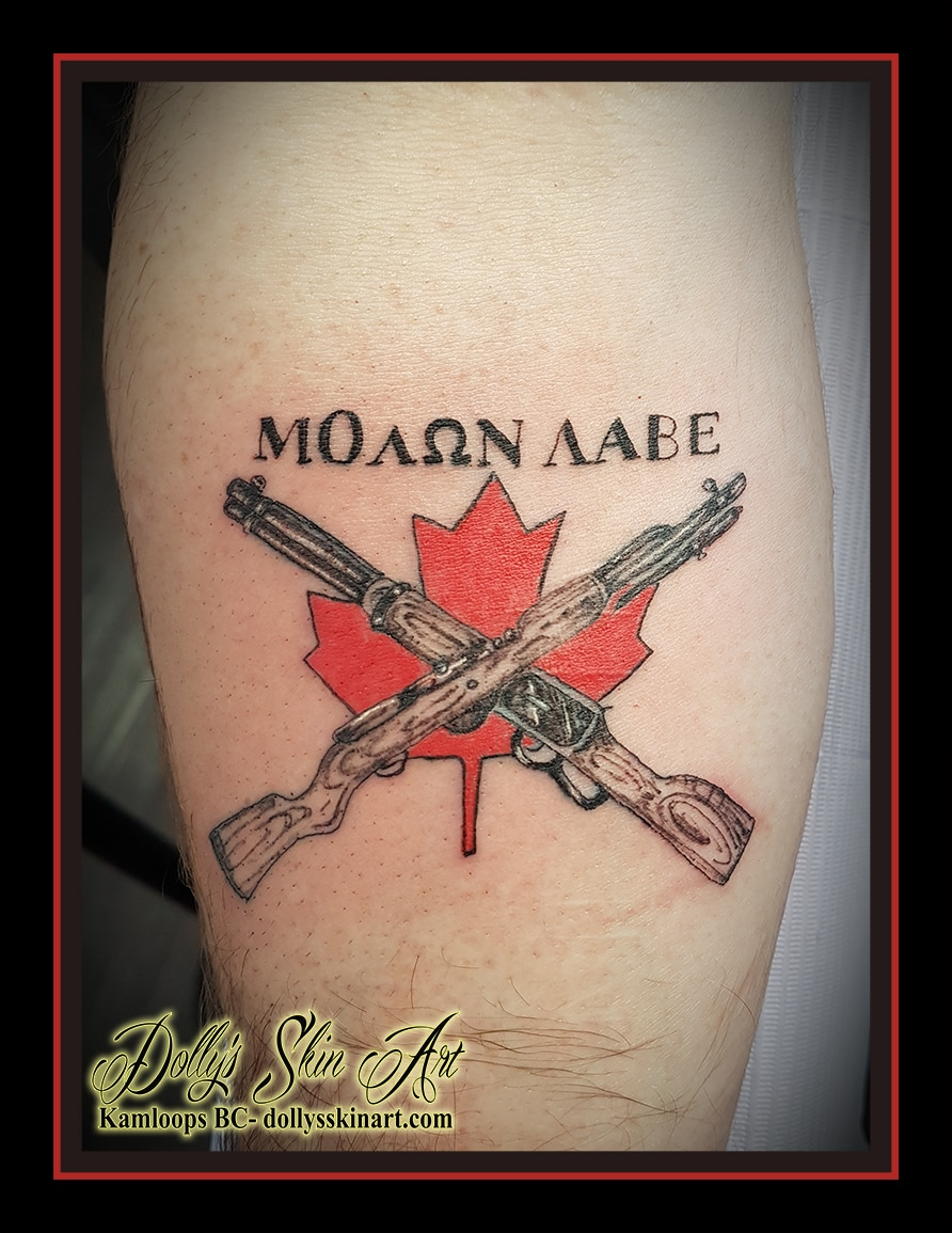 red maple leaf rifle gun firearm shading colour lettering font brother kamloops tattoo dolly's skin art