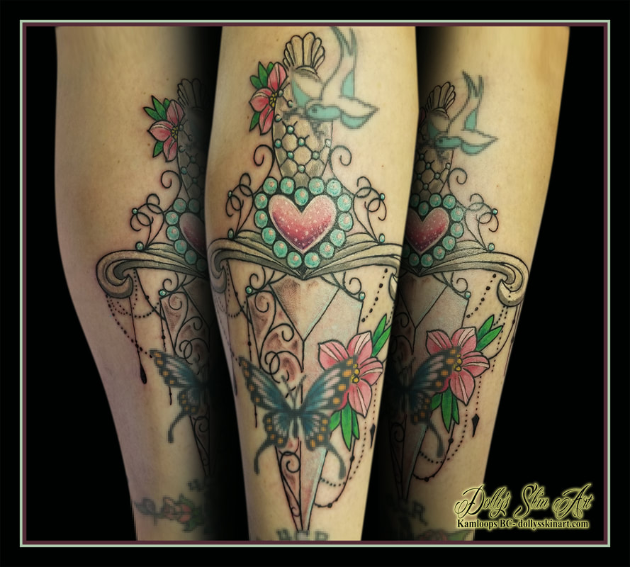 dagger tattoo heart flowers pink blue green white filigree black colour tattoo kamloops dolly's skin art