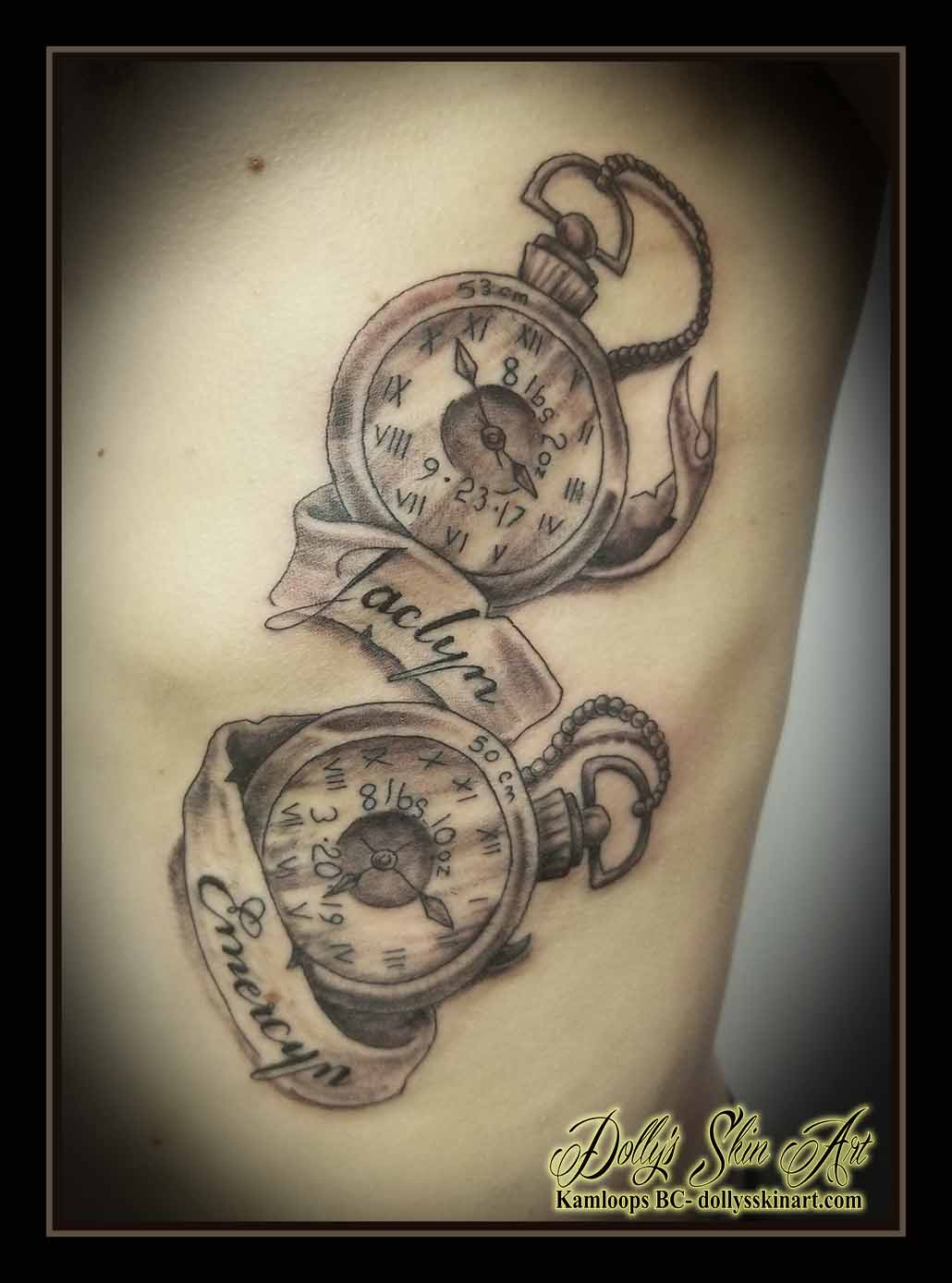 pocketwatch tattoo children birth black and grey banner jaclyn emercyn rib tattoo kamloops dolly's skin art