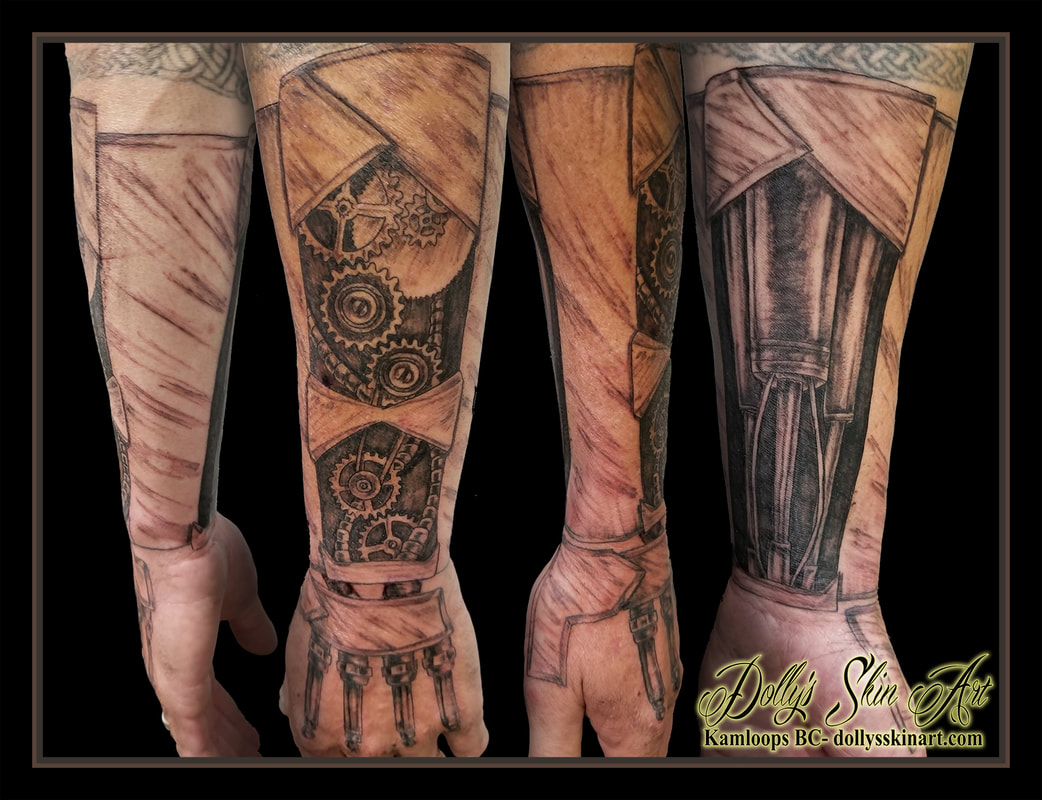 black and grey mechanical half sleeve forearm piston gears tubes hoses plates spark plugs shading hand kamloops tattoo dolly's skin art