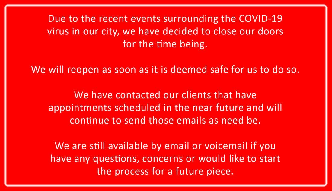Due to the recent events surrounding the COVID-19 virus in our city, we have decided to close our doors for the time being. We will reopen as soon as it is deemed safe for us to do so.  We have contacted our clients that have appointments scheduled in the near future and will continue to send those emails as need be.  We are still available by email or voicemail if you have any questions, concerns or would like to start the process for a future piece.  778 470 0694 dollysskinart@gmail.com  Stay safe and we will talk soon.