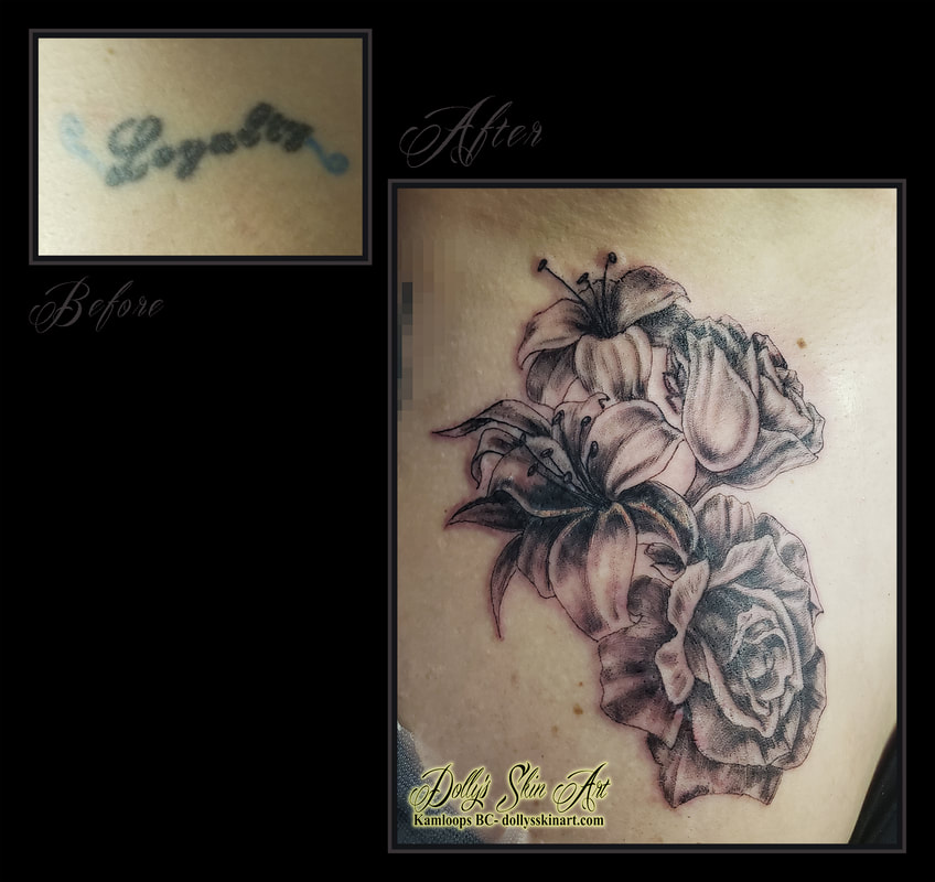 flower cover up tattoo rose lily black and grey shading coverup floral tattoo kamloops dolly's skin art