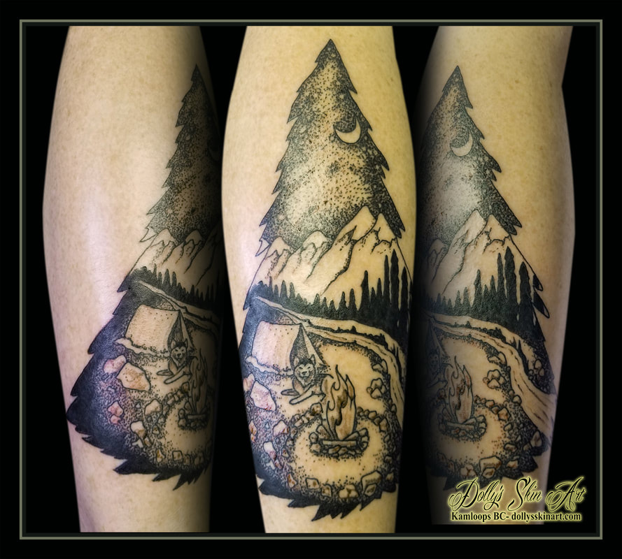 camping tattoo black and grey husky shading dotwork stipple leg calf wilderness forest fire trees tattoo kamloops dolly's skin art