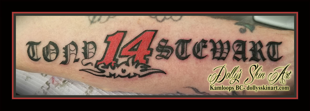 tony stewart 14 smoke nascar stock car logo black red forearm old english font lettering script tattoo kamloops dolly's skin art