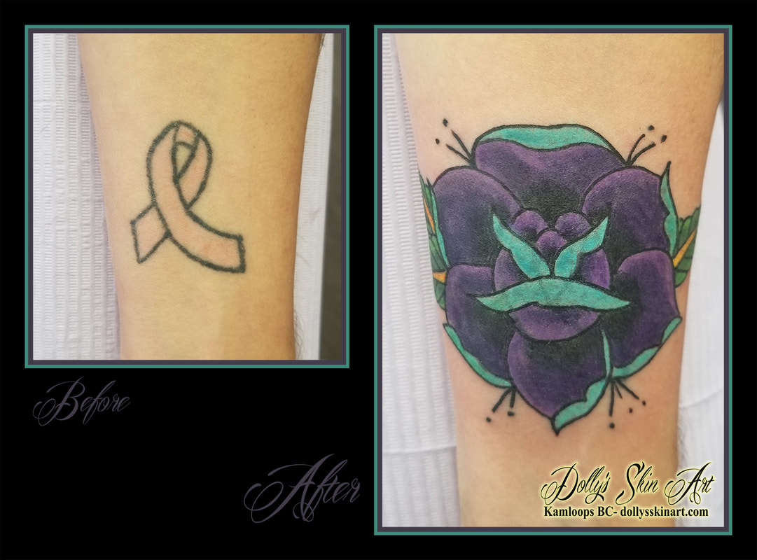 rose cover up tattoo traditional colour coverup blue purple yellow black green ribbon forearm