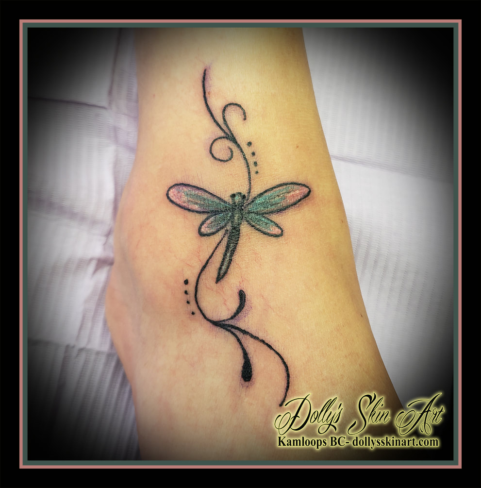 dragonfly tattoo colour blue white black filigree foot ankle small tattoo kamloops dolly's skin art