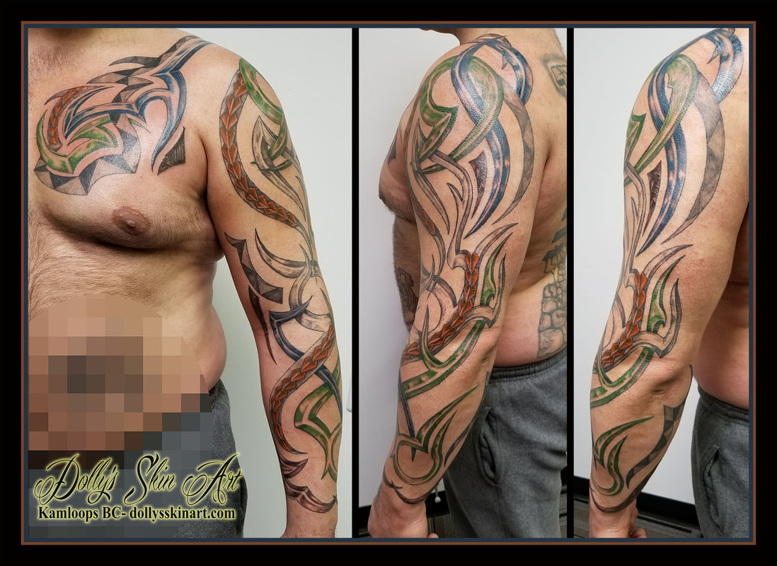 custom tribal sleeve tattoo colour polynesian stone rock metal pattern green blue brown rust black chest bicep forearm arm tattoo kamloops dolly's skin art