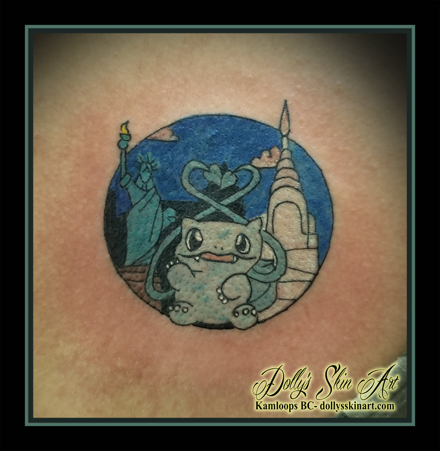 Bulbasaur tattoo statue of liberty eiffel tower colour family Pokémon Nintendo tattoo kamloops dolly's skin art