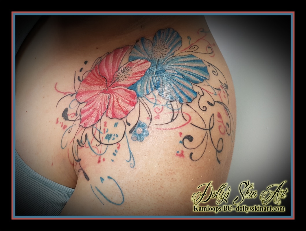 Hibiscus blue pink black filigree shoulder flowers tattoo kamloops dolly's skin art