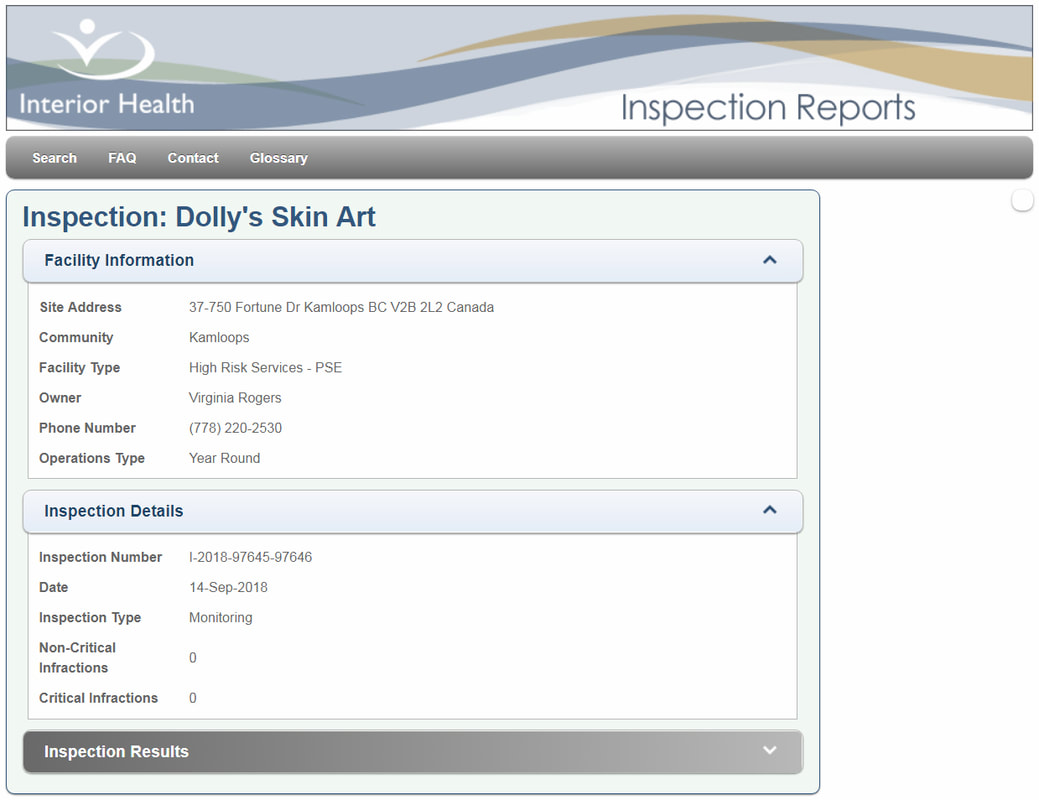 Dolly's Skin Art Interior Health Authority IHA Personal Service Inspection Results Kamloops Virginia Rogers