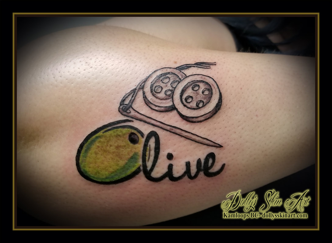 olive sewing needle threat buttons lettering script font green yellow black and grey tribute grandmother tattoo kamloops tattoo dolly's skin art