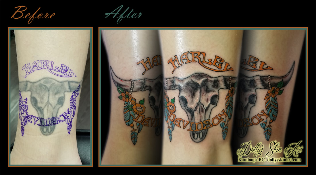 cover up update cow skull harley davidson featherspatch color orange turquoise ankle tattoo kamloops dolly's skin art