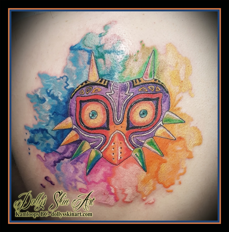 Legend of Zelda Majora's Mask watercolour water color tattoo kamloops dolly's skin art