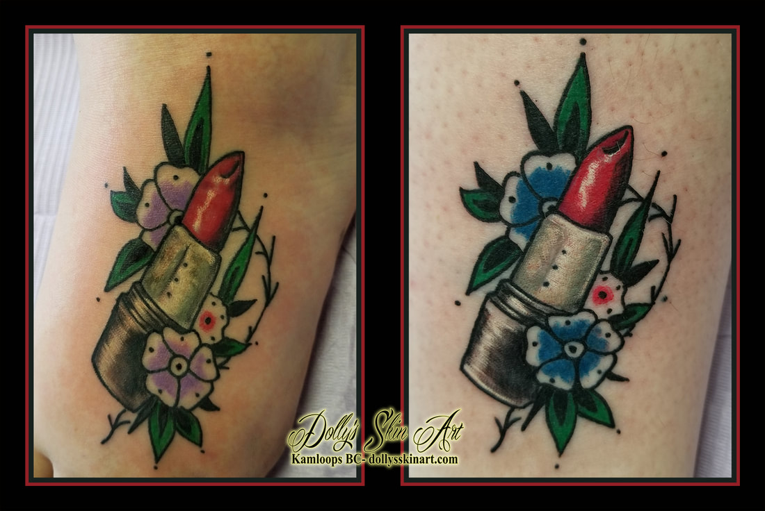 lipstick traditional colour tattoo matching friends red black green blue purple foot tattoo kamloops dolly's skin art