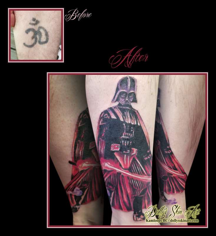 darth vader cover up star wars dark side black red lightsaber leg tattoo kamloops tattoo dolly's skin art