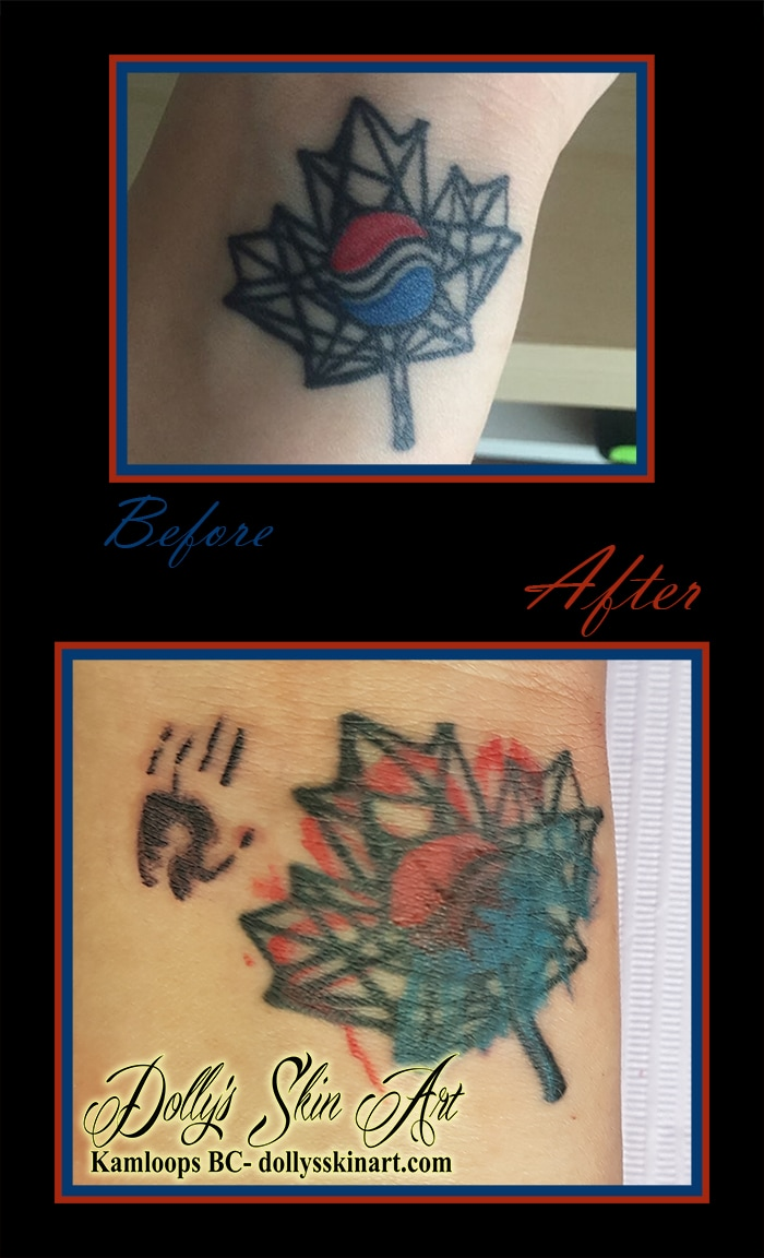 refresh maple leaf south korea flag coverup blue red hand watercolour wrist tattoo kamloops dolly's skin art