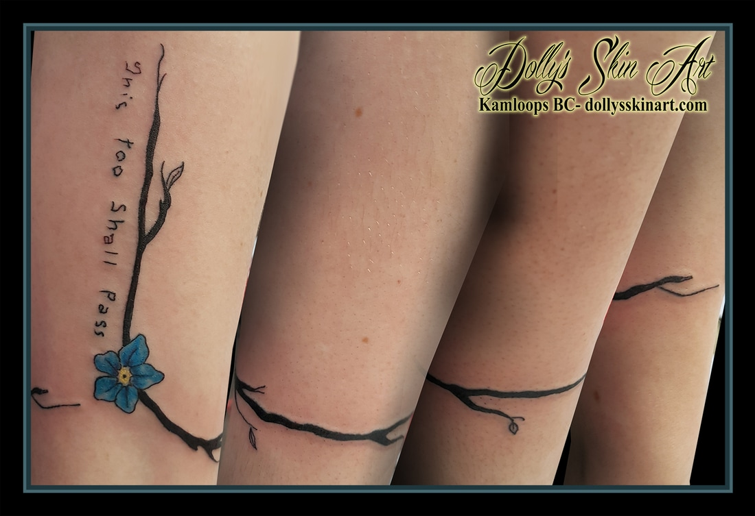 black vine blue yellow forgetmenot handwriting this too shall pass wrist forearm tattoo kamloops dolly's skin art