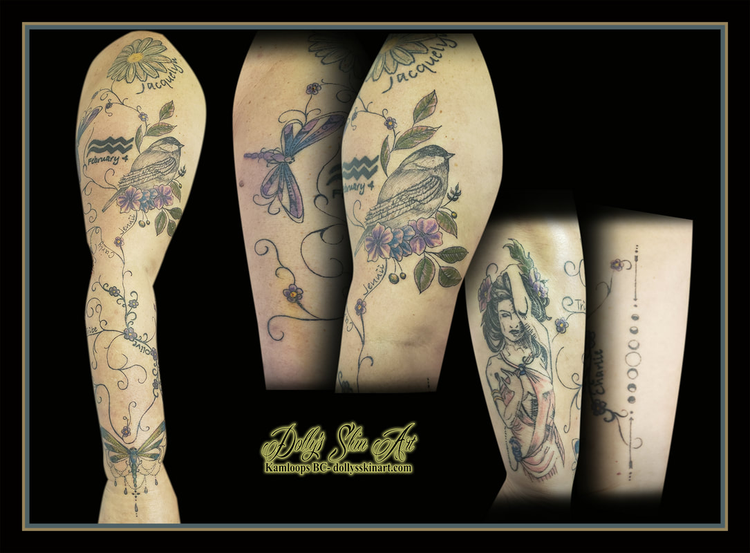 sparrow tattoo sleeve dragonfly wildflowers filigree woman moon phases colour purple pink blue yellow white green leaves tattoo kamloops dolly's skin art