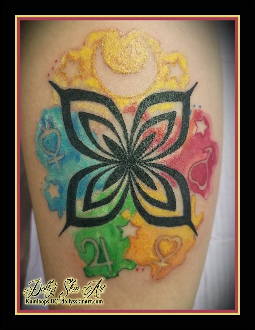 sailor moon bleach water color colour black venus mars jupiter mercury yellow blue red green orange tattoo kamloops dolly's skin art