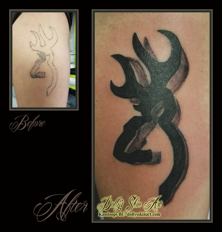 browning logo black deer cover up fix home tattoo kamloops dolly's skin art