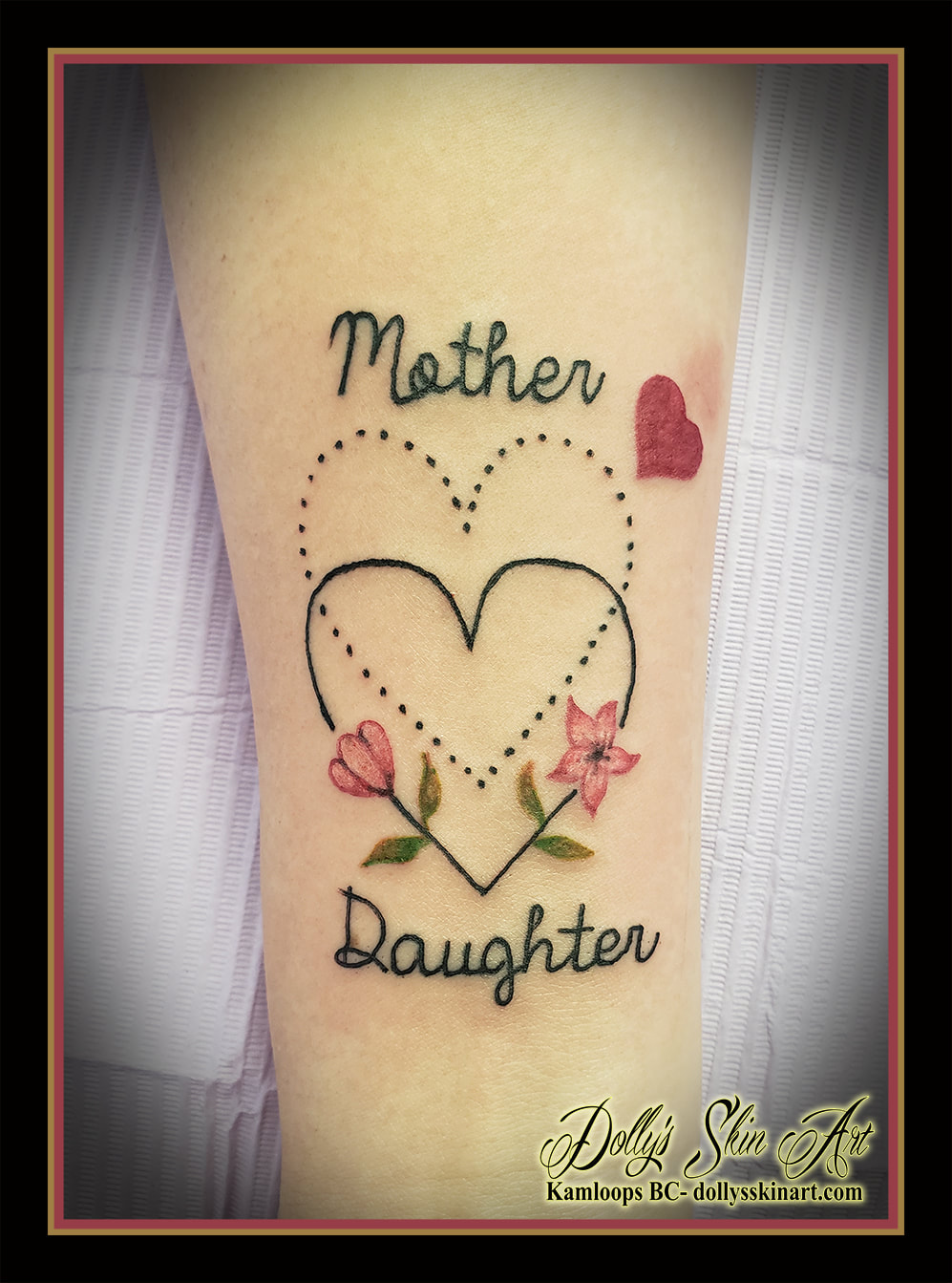 mother daughter matching tattoo heart flowers dots lettering font script black pink green tattoo kamloops dolly's skin art