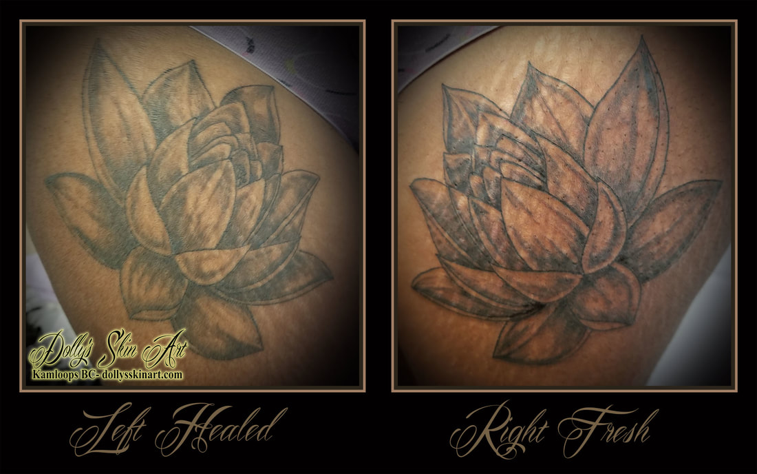 black and grey lotus flower thigh cover hide shaded linework blackwork tattoo kamloops dolly's skin art