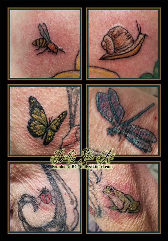 bugs tattoo garden snail bee butterfly dragonfly ladybug frog colour green red black blue pink yellow white brown insects tattoo kamloops dolly's skin art