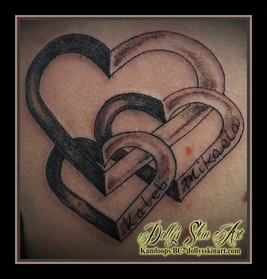 hearts family linked black and grey shaded children name font lettering kamloops dolly's skin art