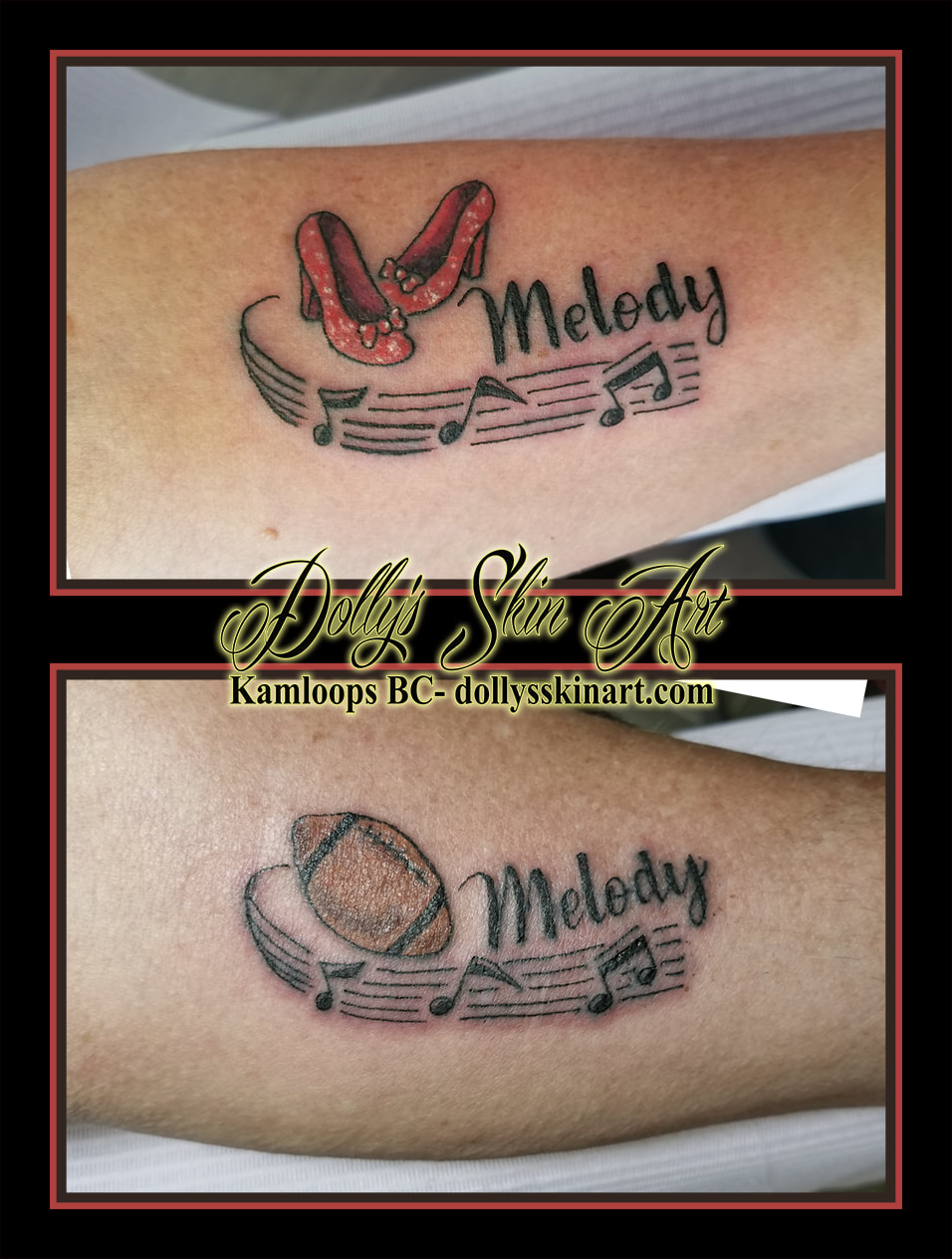 ruby slippers football red brown black melody music font lettering forearm tattoo kamloops tattoo dolly's skin art