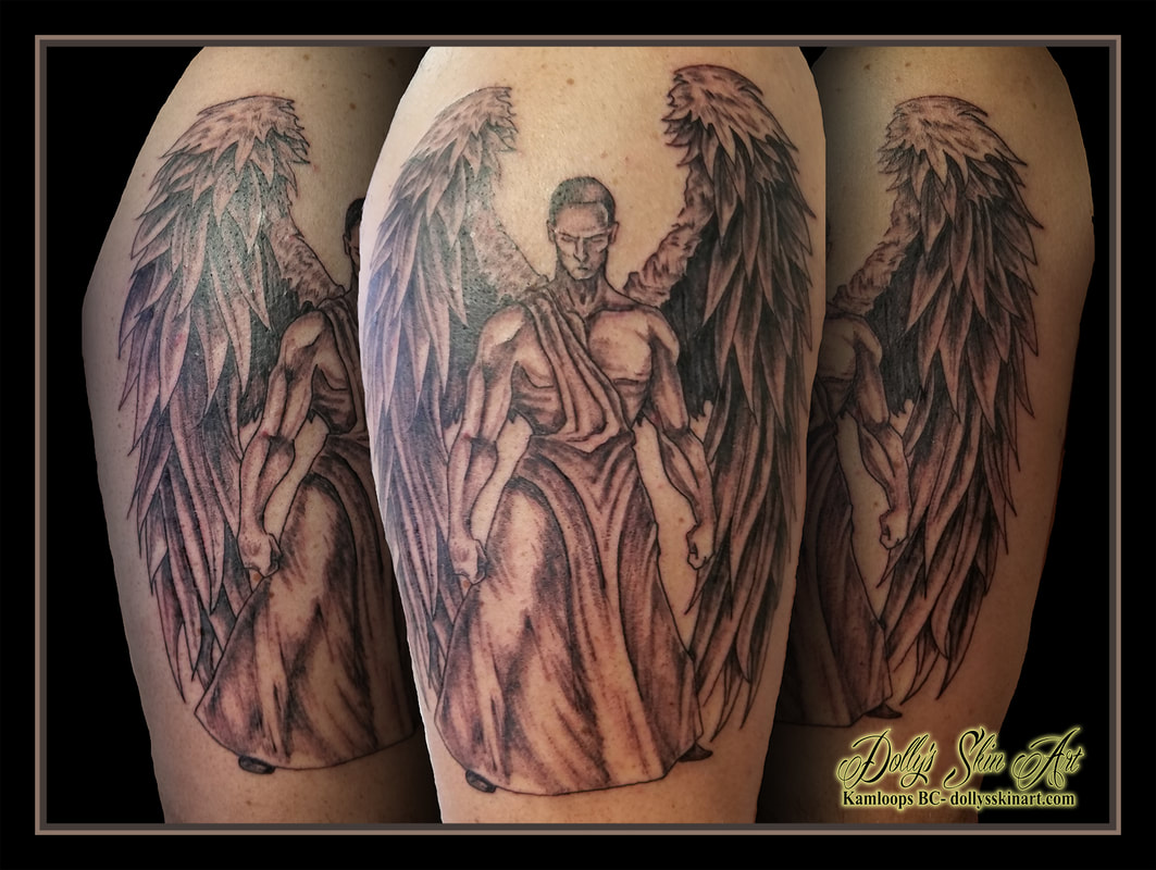 angel power guardian warrior black and grey shading arm shoulder tattoo kamloops dolly's skin art