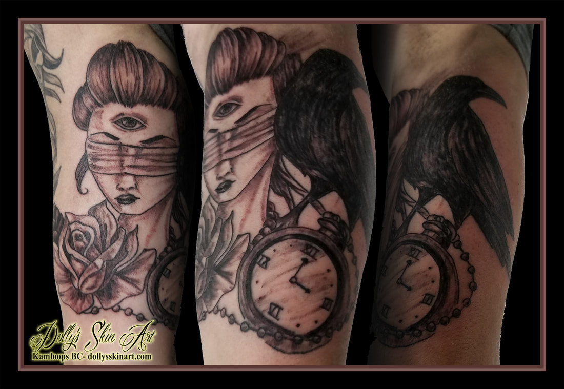 three eye girl blindfold rose pocketwatch raven black and grey shaded arm bicep tattoo kamloops dolly's skin art