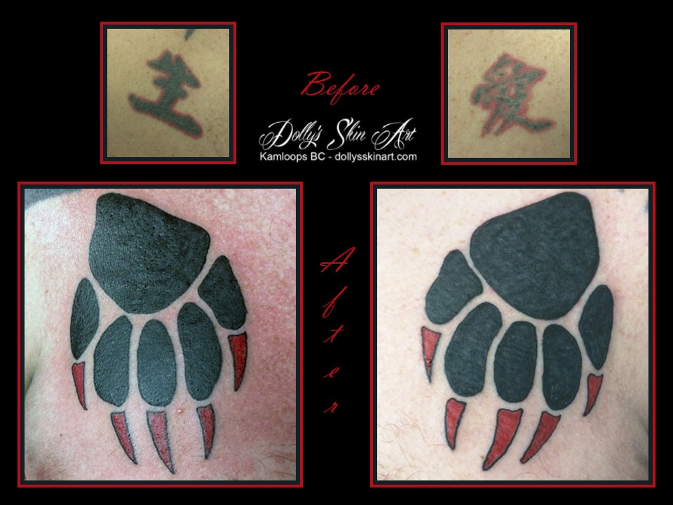 black red paw foot print chest cover up tattoo kamloops dolly's skin art