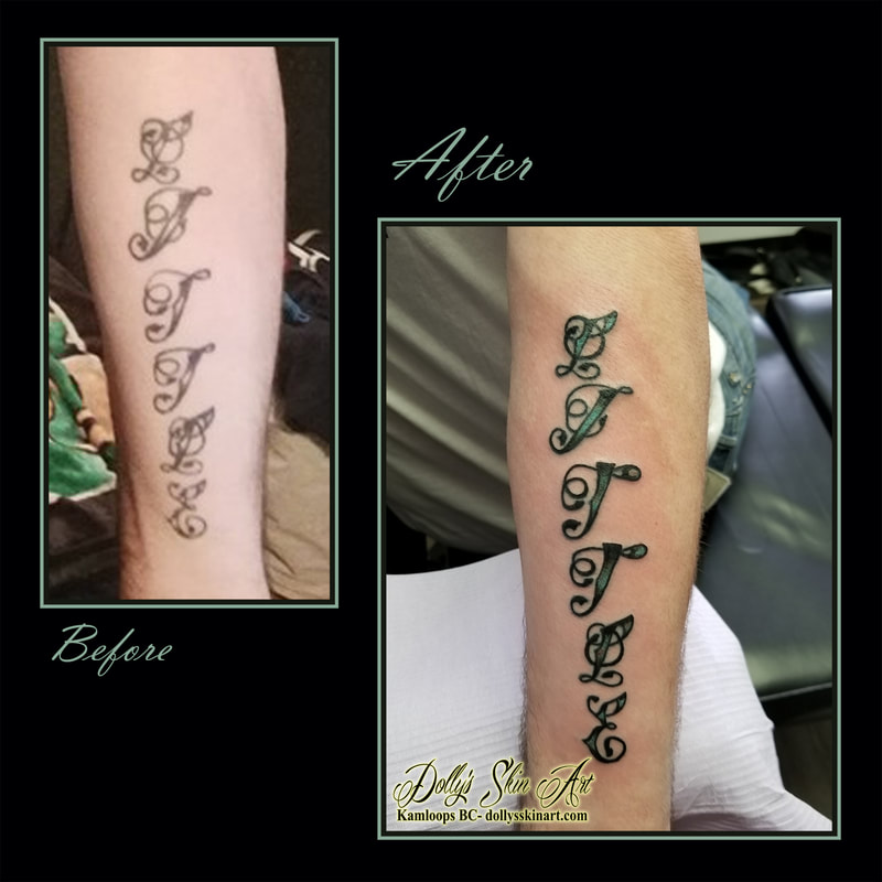 lettering refresh rejuvenate font fill in colour green black name tattoo kamloops dolly's skin art