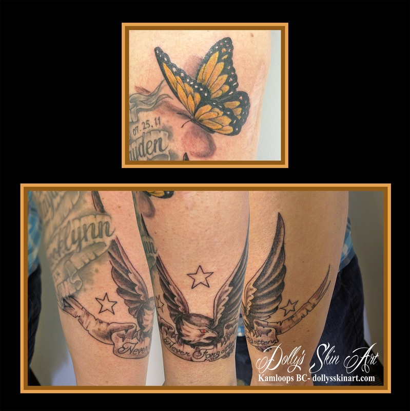 traditional eagle star banner never forgotten black shaded memorial tattoo yellow monarch butterfly star kamloops dolly's skin art