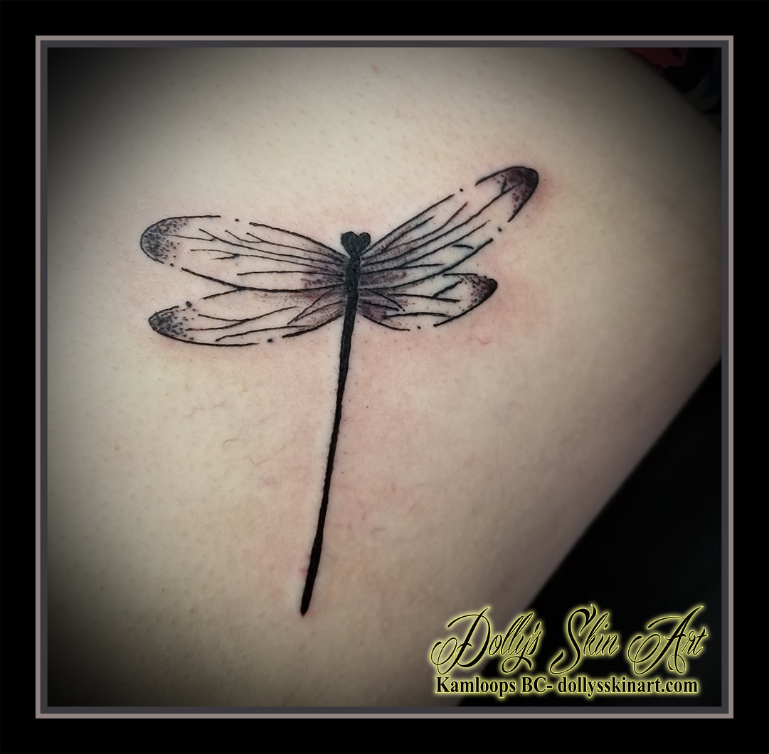 black and grey dragonfly shading stippling blackwork kamloops tattoo dolly's skin art