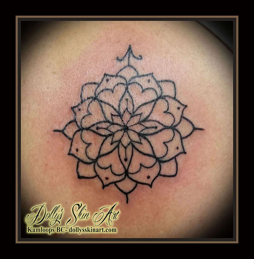small mandala simple single line black outline shoulder tattoo kamloops dolly's skin art