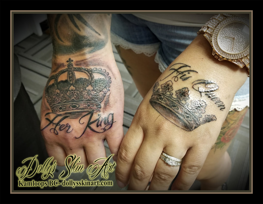 black and grey matching hand crown royalty his queen her king lettering font shading tattoo kamloops dolly's skin art