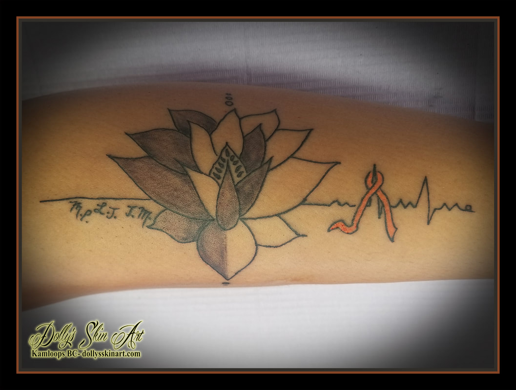 lotus tattoo black and grey shading initials ribbon heartbeat ecg orange own artwork tattoo kamloops dolly's skin art